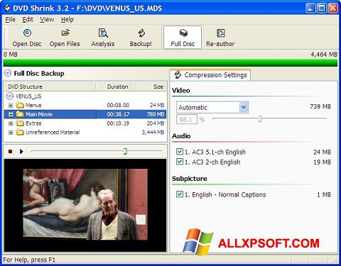 સ્ક્રીનશૉટ DVD Shrink Windows XP