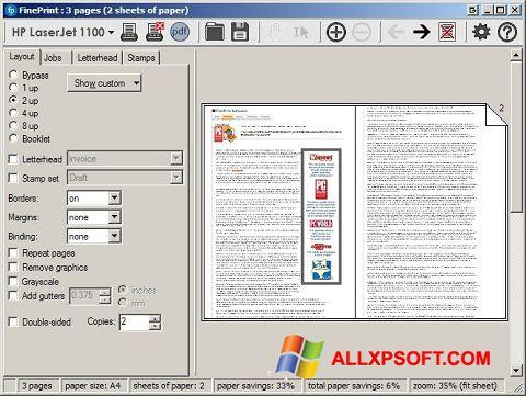 સ્ક્રીનશૉટ FinePrint Windows XP