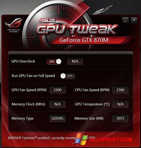 સ્ક્રીનશૉટ ASUS GPU Tweak Windows XP