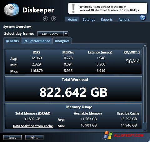 સ્ક્રીનશૉટ Diskeeper Windows XP