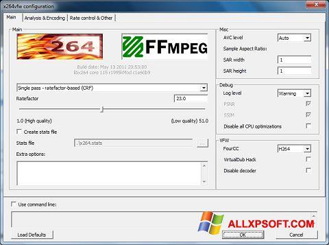 સ્ક્રીનશૉટ x264 Video Codec Windows XP