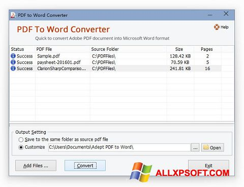 સ્ક્રીનશૉટ PDF to Word Converter Windows XP