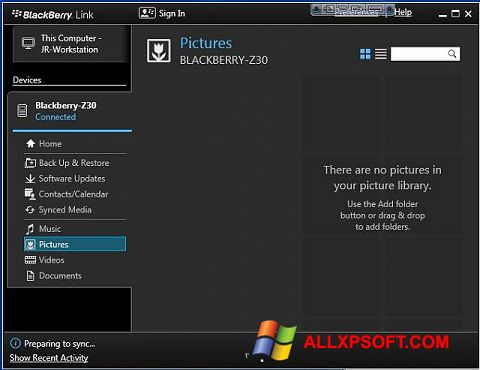 સ્ક્રીનશૉટ BlackBerry Link Windows XP