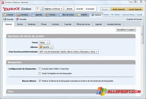 સ્ક્રીનશૉટ Zimbra Desktop Windows XP