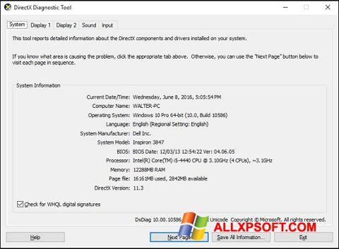 સ્ક્રીનશૉટ DirectX Windows XP