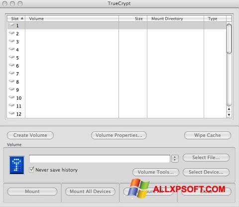 સ્ક્રીનશૉટ TrueCrypt Windows XP