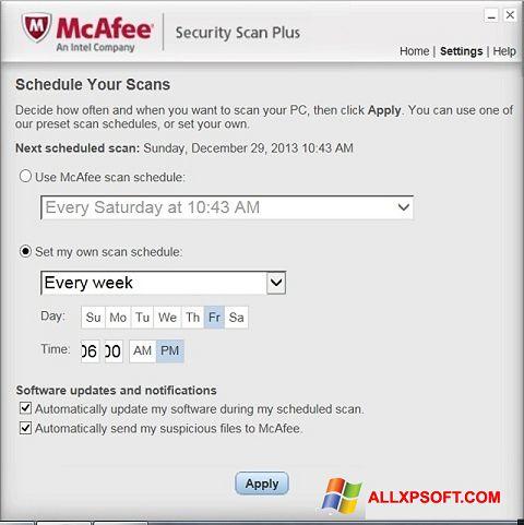 સ્ક્રીનશૉટ McAfee Security Scan Plus Windows XP