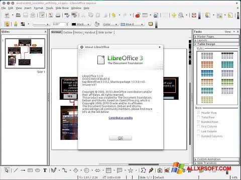 સ્ક્રીનશૉટ LibreOffice Windows XP