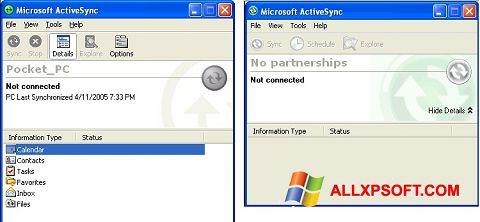 સ્ક્રીનશૉટ Microsoft ActiveSync Windows XP