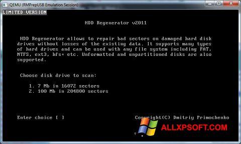 સ્ક્રીનશૉટ HDD Regenerator Windows XP