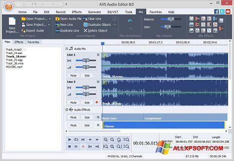 સ્ક્રીનશૉટ AVS Audio Editor Windows XP