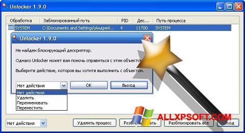 સ્ક્રીનશૉટ Unlocker Windows XP
