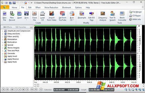 સ્ક્રીનશૉટ Free Audio Editor Windows XP