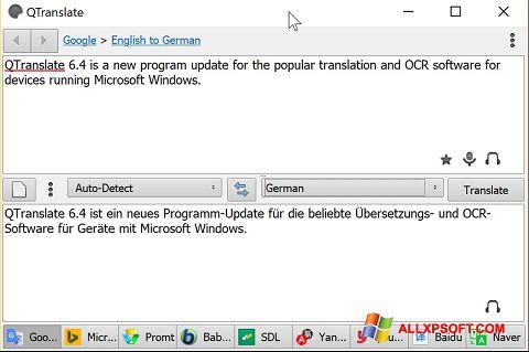 સ્ક્રીનશૉટ QTranslate Windows XP