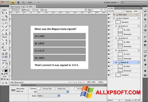 સ્ક્રીનશૉટ Adobe Fireworks Windows XP