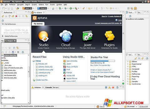 સ્ક્રીનશૉટ Aptana Studio Windows XP