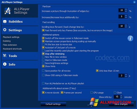 સ્ક્રીનશૉટ ALLPlayer Windows XP