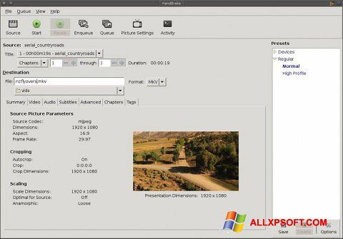 સ્ક્રીનશૉટ HandBrake Windows XP