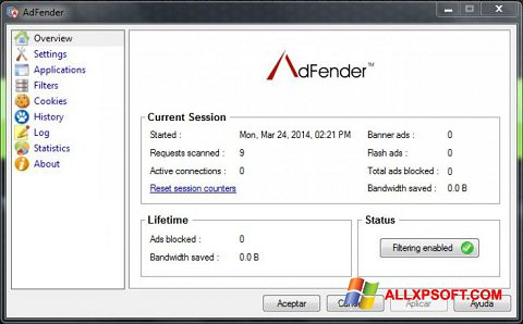 સ્ક્રીનશૉટ AdFender Windows XP