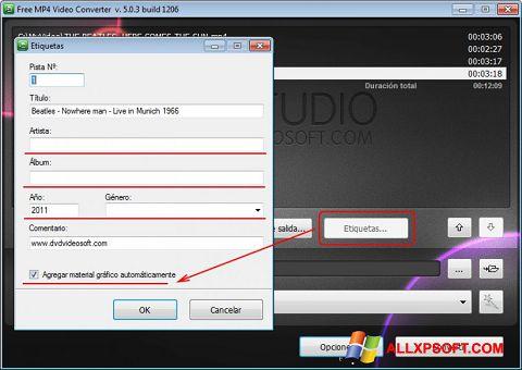 સ્ક્રીનશૉટ Free MP4 Video Converter Windows XP