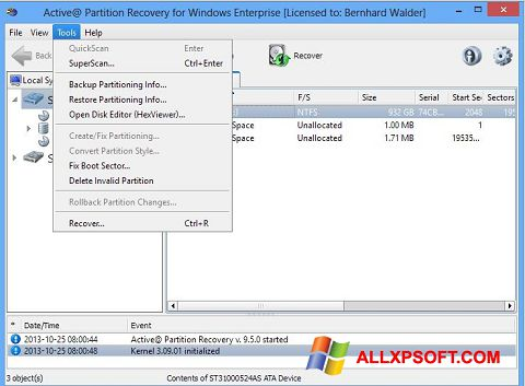 સ્ક્રીનશૉટ Active Partition Recovery Windows XP