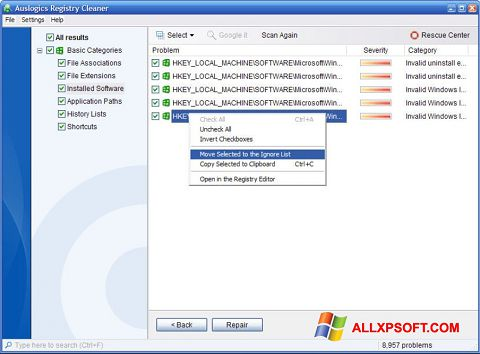 સ્ક્રીનશૉટ Auslogics Registry Cleaner Windows XP