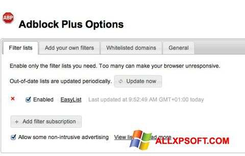 સ્ક્રીનશૉટ Adblock Plus Windows XP