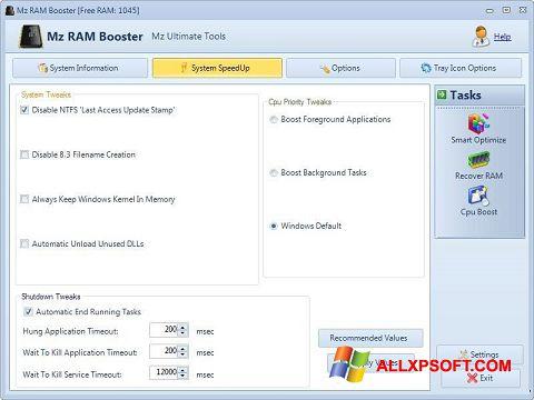 સ્ક્રીનશૉટ Mz RAM Booster Windows XP