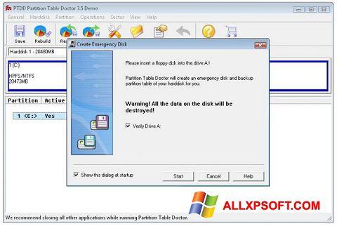 સ્ક્રીનશૉટ Partition Table Doctor Windows XP