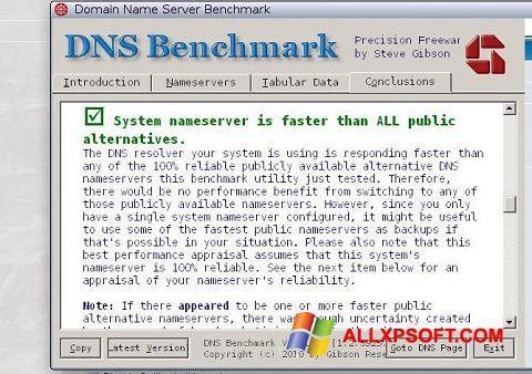 સ્ક્રીનશૉટ DNS Benchmark Windows XP