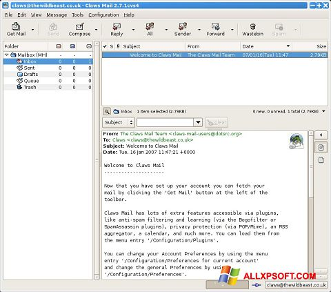 સ્ક્રીનશૉટ Claws Mail Windows XP