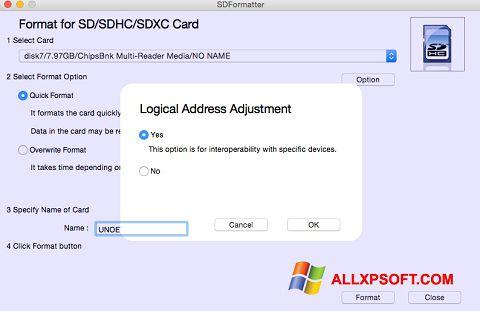 સ્ક્રીનશૉટ SDFormatter Windows XP