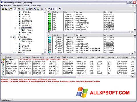 સ્ક્રીનશૉટ Dependency Walker Windows XP
