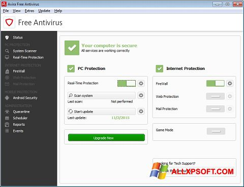સ્ક્રીનશૉટ Avira Free Antivirus Windows XP