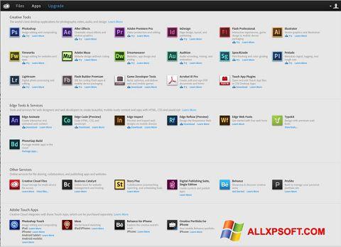 સ્ક્રીનશૉટ Adobe Creative Cloud Windows XP