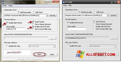 સ્ક્રીનશૉટ PeToUSB Windows XP