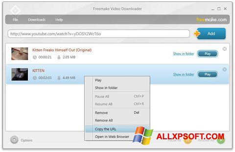 સ્ક્રીનશૉટ Freemake Video Downloader Windows XP
