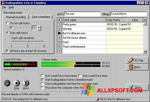 સ્ક્રીનશૉટ Audiograbber Windows XP
