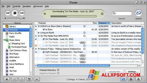સ્ક્રીનશૉટ iTunes Windows XP