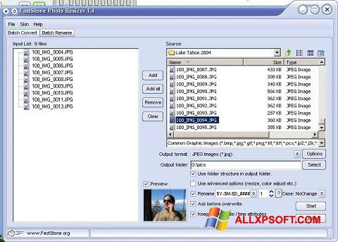 સ્ક્રીનશૉટ FastStone Photo Resizer Windows XP