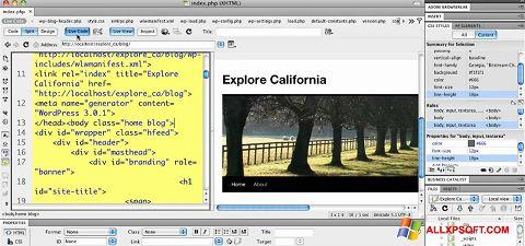 સ્ક્રીનશૉટ Adobe Dreamweaver Windows XP