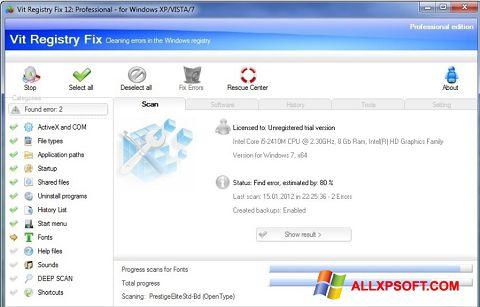 સ્ક્રીનશૉટ Vit Registry Fix Windows XP