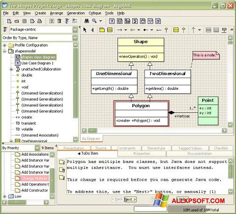સ્ક્રીનશૉટ ArgoUML Windows XP