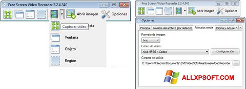 સ્ક્રીનશૉટ Free Screen Video Recorder Windows XP