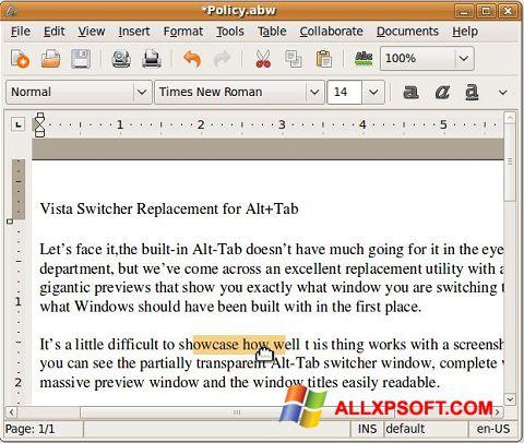 સ્ક્રીનશૉટ AbiWord Windows XP