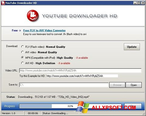 સ્ક્રીનશૉટ Youtube Downloader HD Windows XP