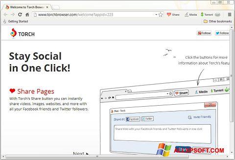 સ્ક્રીનશૉટ Torch Browser Windows XP