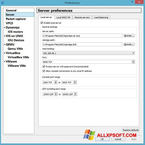 સ્ક્રીનશૉટ GNS3 Windows XP