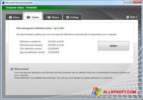 સ્ક્રીનશૉટ Microsoft Security Essentials Windows XP